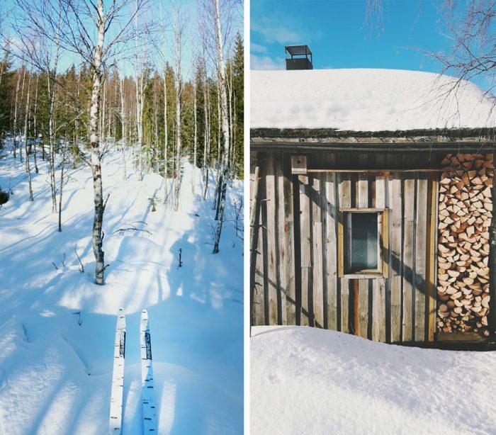 kevat-koivikko-metsa-sukset-hankisukset-puupino-halko-motti-polttopuu-sauna-ulkosauna-kirkas-aurinko-maaseutu-suomi-finland-700x614