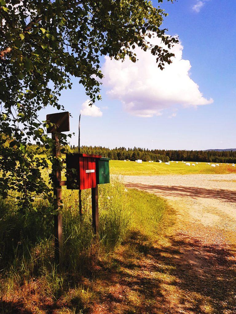 suomi-postilaatikko-maalla-maaseudulla-sotkamo-hiekkatie-soratie-punainen-laatikko-nostalgia-kesa-maisema