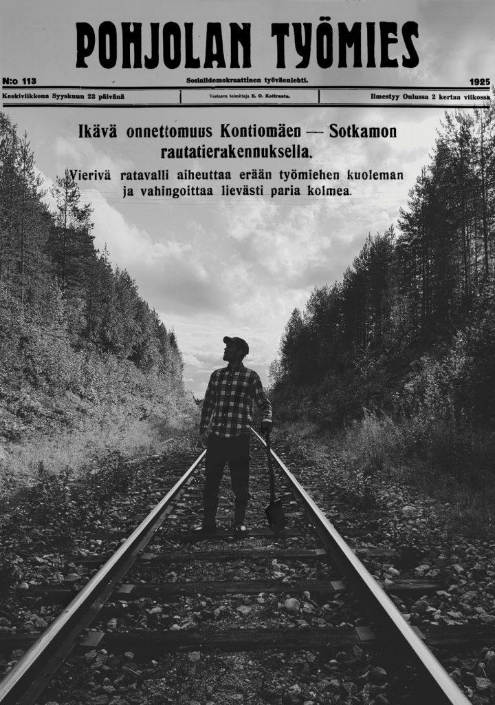 historia-hannes-hyvonen-kuolema-rautatieonnettomuus-tyolainen-pohjolan-tyomies-vanha-lehtileike-graafinen-suunnittelu-mustavalkoinen-kuva-ratapolkky-rinne-leikkaus-lapiointi