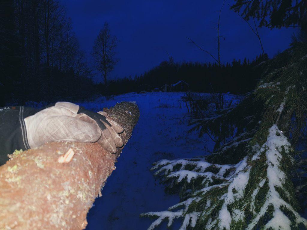 blue-moment-in-finland-sininen-hetki-joulukuu-ensilumi-polttopuu-puiden-kanto-pihaan-talo-pellon-keskella