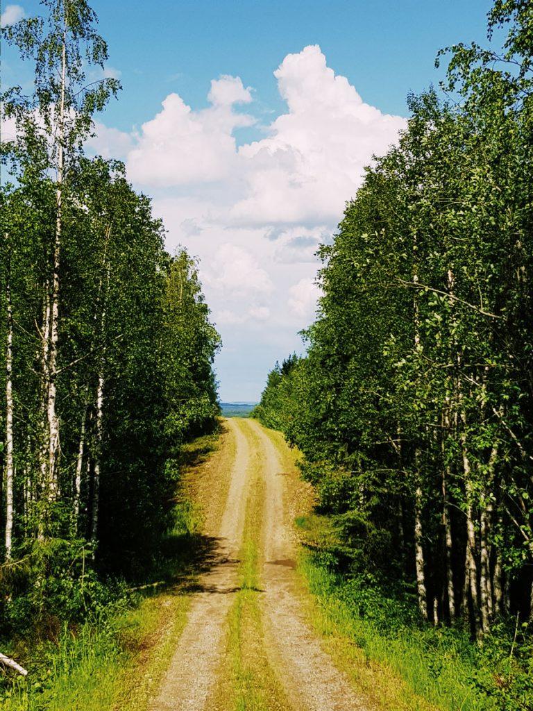 finland gravel road soratie syrjainen hiljainen kapea tie maki sininen taivas pilvia